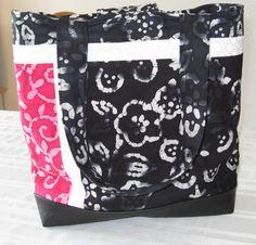 Large Batik Leather Bottom Tote Bag by QuiltingCorner on Etsy
