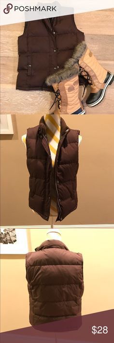 GAP Chocolate brown Puffer Vest. Gap Puffer Vest. Without the detachable fur hood. Lost it. Great vest otherwise. Size Small, 100% polyester, 75% down filler. Smoke free home. GAP Jackets & Coats Puffers