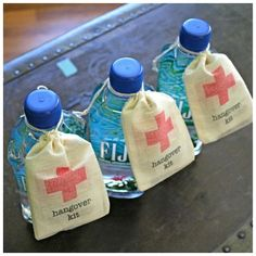 Hangover kit, such a good idea for people to take home after a wedding!