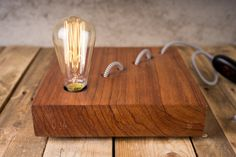 Ovangkol wood lamp mod. Nessy 034  table lamp  by TelltaleDesign