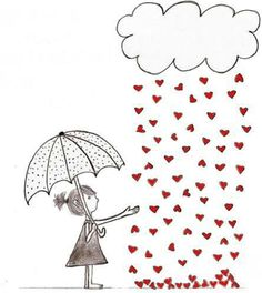 It's raining hearts pencil drawing illustration