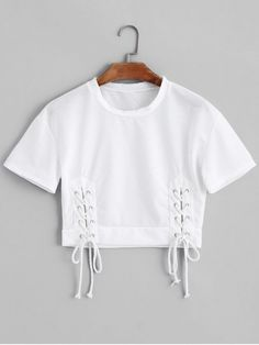 Shop for Short Sleeve Lace Up Cropped Top WHITE: Tees L at ZAFUL. Only $18.99 and free shipping!