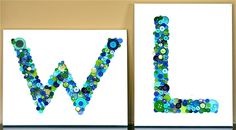 Button Letter Art. Did this and added a little ribbon to the canvas before gluing the letter on