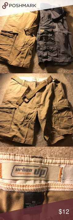 Two Pairs of Men's Shorts with Belts Nice pairs of shorts with belts included. The khaki one is size 36 and the blue-gray one is size 34, but the waist is adjustable with the belts. Shorts
