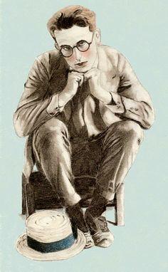 Sara's drawing of Harold Lloyd in an uncharacteristically sad pose.