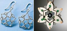 Argentium Filigree Earrings by Elizabeth Porter and Gemstone and Metal Pendant by Andy Lucas - from No Two Alike: Make Snowflake Ornaments and Jewelry with Wire, Metal, Gems, Even Scraps! - Jewelry Making Daily