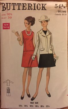 VTG 5414 Butterick 1969 suit w/low waisted by ThePatternParlor