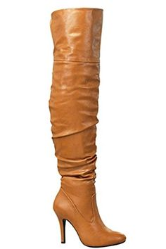 Forever Link FAUX LEATHER OVER THE KNEE FOLDABLE BOOTS 9 TAN ** You can get more details by clicking on the image.