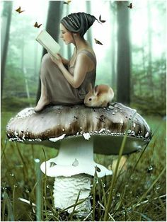 .The girl reading on a mushroom...this looks like my best friend only she would be in a pink tutu