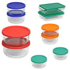 This amazing 20-piece Pyrex storage container set features an array of tempered glass dishes with colorful matching lids that makes it easy to store food or take it on the go.