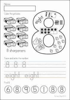 Kindergarten Back to School Math & Literacy Worksheets and Activities. 135 pages. A page from the unit: Number sense practice page (numbers 1-10)