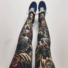 I think my legs are pale enough to pull off full legs of American Traditional Tattoos. The question is do I I want to. Repost from @radtattoos @TopRankRepost #TopRankRepost | @thesoundofbreakingup