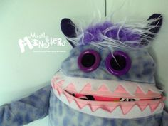 Cuddle Monster Pillow PERIWINKLE pink & by MostlyMonstersCV, $27.95