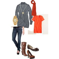 Cute fall outfit for October that I want :)  #orange #fall #october