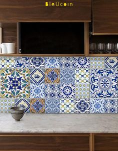 Tile decal : Portuguese style kitchen/bathroom tile by Bleucoin