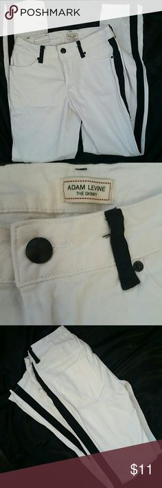 Nwot White Black Stripe Soft Jeans color block These are really cool color block jeans in white and black it just didn't work on my body type. Very soft and comfortable material. Awesome item. Tried on never worn. Price firm. adam levine Jeans Skinny