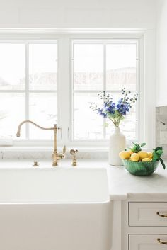 Kitchen Sink with Brass Faucet - pinned by www.youngandmerri.com