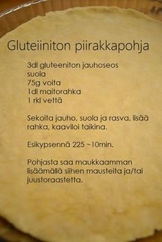 Emmin ja Terhin resepti- ja ravitsemusblogi: Piirakkaa! Gluten Free Baking, Gluten Free Desserts, Gluten Free Recipes, Low Carb Recipes, Baking Recipes, Savoury Baking, Bread Baking, Finnish Recipes, Sweet And Salty
