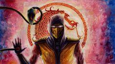 Drawing Scorpion Mortal Kombat Time Lapse - Scorpion MK - Скорпион Смерт...