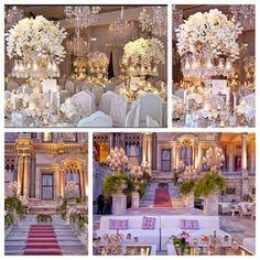 Beautiful wedding decor at the Ciragan Palace in Istanbul, Turkey.  Beautiful pink carpet!