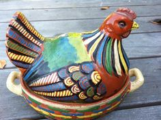Mexican Pottery Covered Chicken Terrine - Heritage Culinary Artifacts