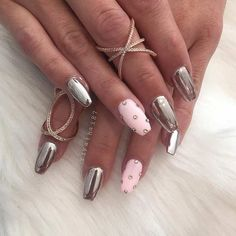Baby Pink and Silver Metallic Nail Art Design