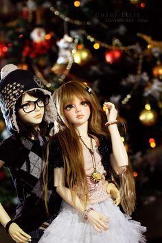 Merry Christmas - 2012 by chibi-lilie on DeviantArt Cartoon Girl Images, Cute Cartoon Girl, Cute Love Cartoons, Anime Dolls, Bjd Dolls, Girl Dolls, Pretty Dolls, Cute Dolls, Beautiful Dolls