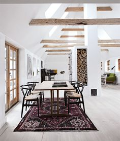 nice combination of rustic trusses and white ceiling