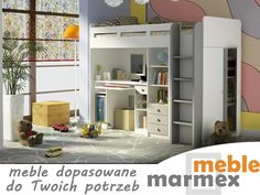 Łóżko z biurkiem dla dzieci antresola COMBI marmex