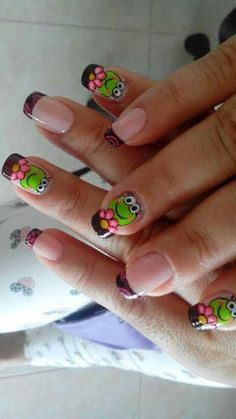 Sapito Pedicure Nail Designs, Pedicure Nails, Cute Nail Designs, Nails Design, Hair And Nails, My Nails, Monster Nails, Animal Nail Art, Special Nails