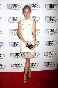 "Mackenzie Davis in a white dress at the premiere of ""The Martian"" during the 53rd New York Film Festival at Alice Tully Hall."