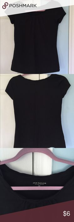 Black medium Ann Taylor short sleeve shirt Never worn, black Ann Taylor t-shirt with cute braid design around neckline. I have broad shoulders and I find that this is tight around my shoulders, but fits like a regular medium! (this was gifted to me but not really my style). Ann Taylor Tops Tees - Short Sleeve