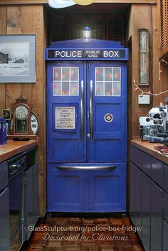 Tardis Police Box Fridge Kit custom designed to fit your refrigerator- you can even have it outfitted with a sound box!