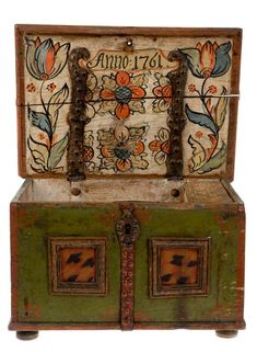Swedish antique hand painted chest - dated 1761