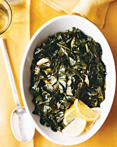 Collard Greens with Lemon - Martha Stewart Recipes (garlici, chicken stock, butter,lemon)