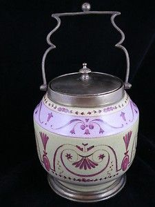Antique Biscuit Cracker Jar Marked 1895 Barrel Condiment Cookie Crock ...