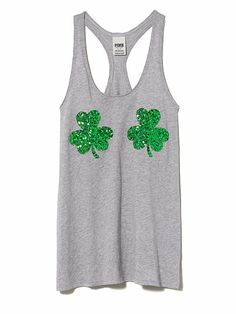 St. Patrick's Bling Tank @Cara K Caplan I think I'm going to buy this for our run haha