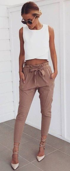 Business outfit idea | Pants + white top
