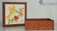 Caixa em MDF (madeira) trabalhada com tecido e patchwork embutido! Beija-flor
