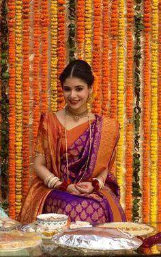 Traditional Silk Bridal Saree in Purple and Orange on a Beautiful Bangladeshi Bride