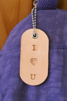 I Heart U Bag Charm  I Love You Leather Bag by TinasLeatherCrafts. Repin To Remember.