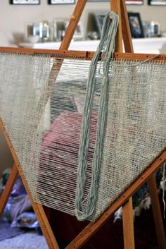 on the loom - Triangle loom to weave shawls with instructions