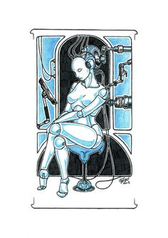 lovely piece done in ink and watercolours #art #nude #sci-fi #artNouveau