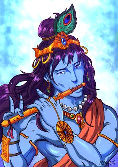 My Anime Style Lord Krishna Portrait by JazylH.deviantart.com on @DeviantArt