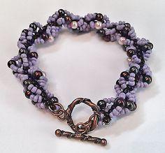 Purple Beadwork Bracelet  Seed Bead Patterned by DuMoments on Etsy