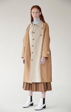 edcff11315 BI-COLOR TRENCH COAT - BEIGE — MIJEONG PARK - LA based womenswear label Fall