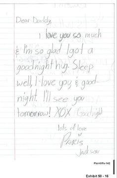Note of Paris Jackson