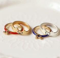 Golden/Silver Cutie Kitty Cat Bell Ring KW153289