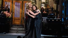 Brie Larson made her hosting debut on Saturday Night Live, but for her monologue, The Room star had a little help from her friends — and their moms. She was joined onstage by several SNL cast members as they took over her opening monologue with Mother's Day messages.