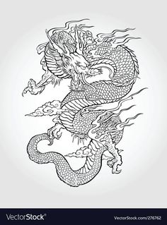 Illustration about Traditional Asian Dragon. This is vector illustration ideal for a mascot and tattoo or T-shirt graphic. Illustration of dragon, black, ethnicity - 33671675 Wolf Tattoos, Body Art Tattoos, Tattoo Drawings, Gypsy Tattoos, Tattoos Skull, Ankle Tattoos, Traditional Japanese Dragon, Mystic Dragon, Dragons